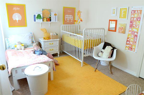 İki kardeş için bebek ve çocuk odası