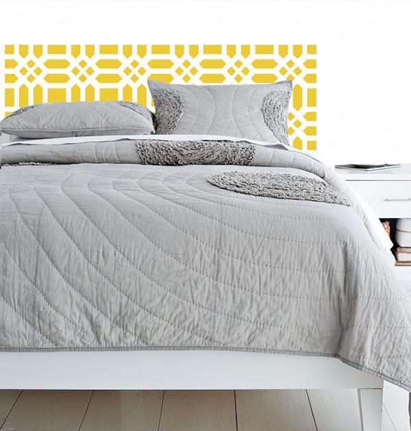 Yatak başlığı duvar kağıdı Desenli Sarı