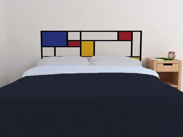 Yatak başlığı duvar kağıdı Renkli kareler