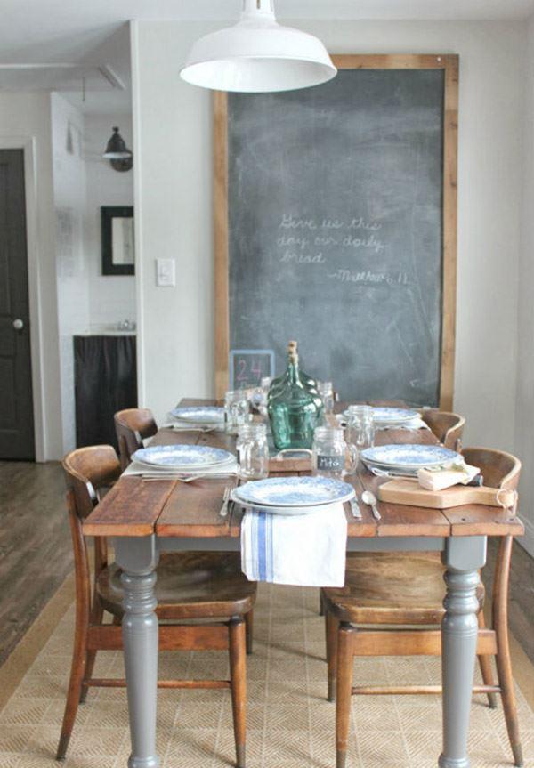 Ahşap masalı yemek odası dekorasyonu