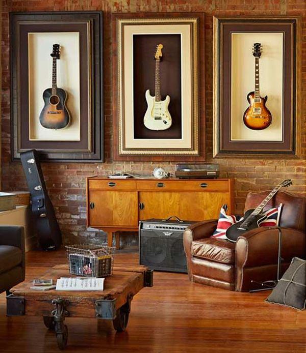 Duvar dekorasyonu müzik temalı gitar