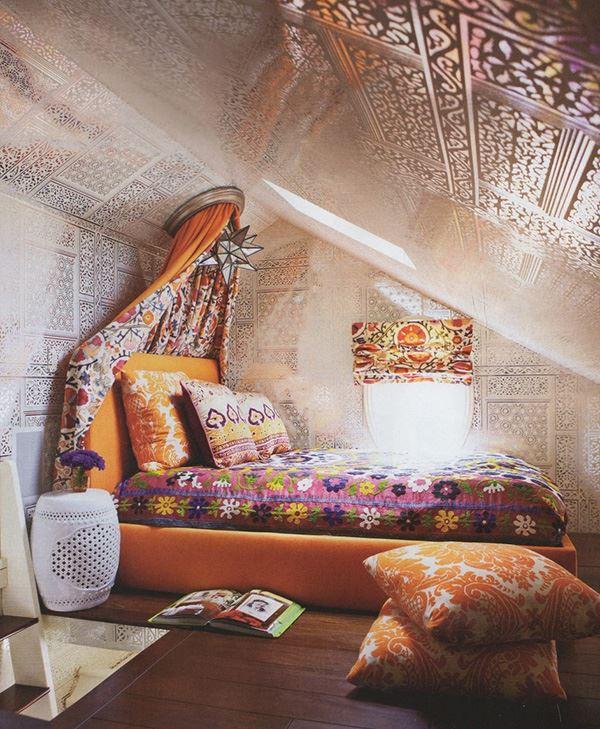 Hint tarzı bohem ilginç yatak odası
