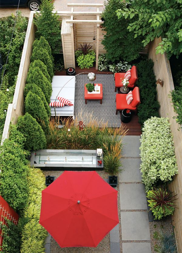 Küçük modern bahçe dekorasyonu