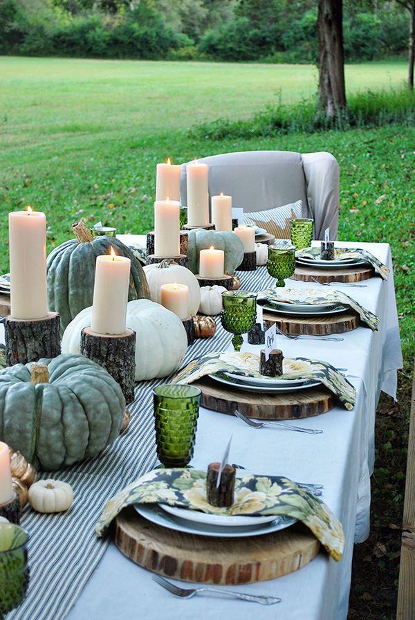 Kütük Altlıklı Kabaklı Yemek Masası Dekorasyonu