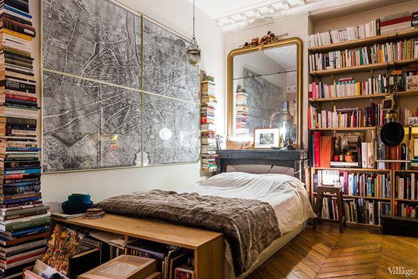 Kütüphaneli ilginç yatak odası