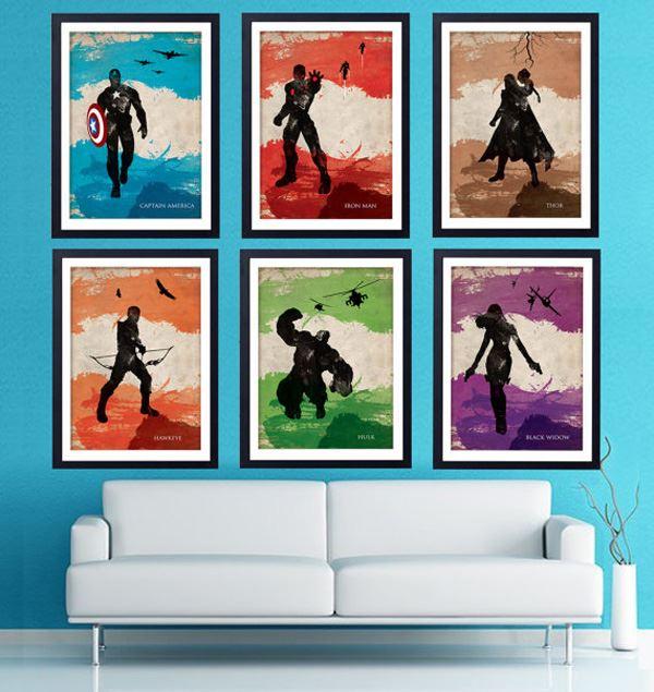 Marvel karakterleri duvar dekorasyonu