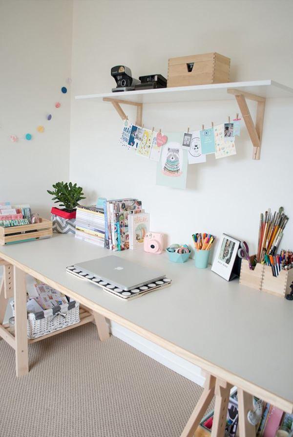 Pastel tonlarda çalışma odası dekorasyon fikirleri