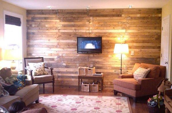 Salon duvar dekorasyonu ahşap duvar
