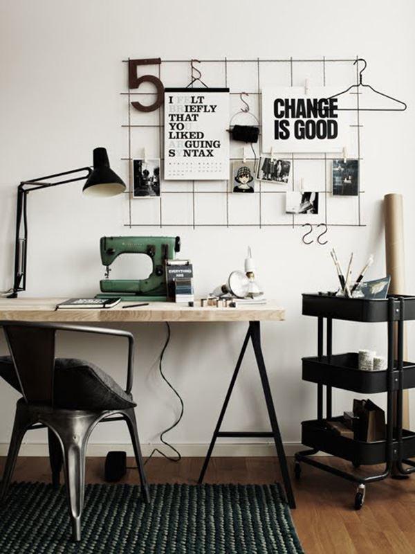 Siyah beyaz çalışma odası dekorasyonu