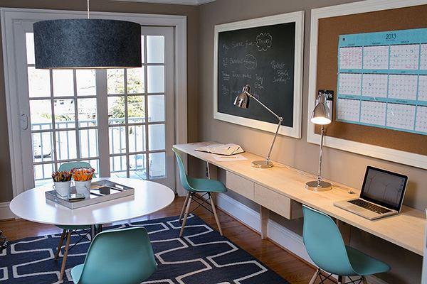 İki kişilik home office dekorasyonu