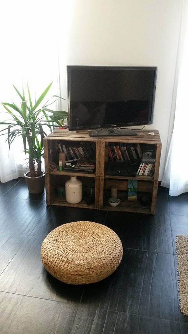 TV stand with fruit box