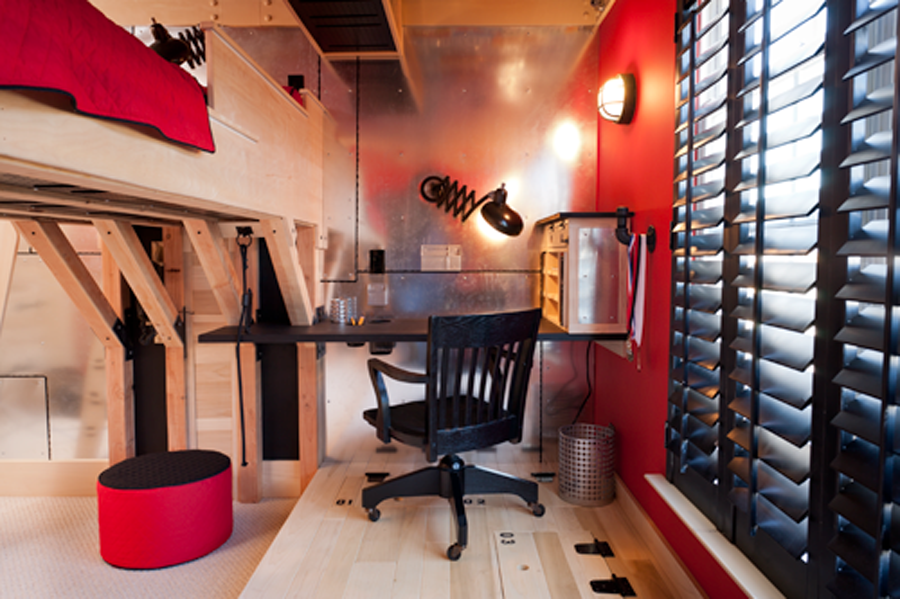 Wood and Red Teen Room