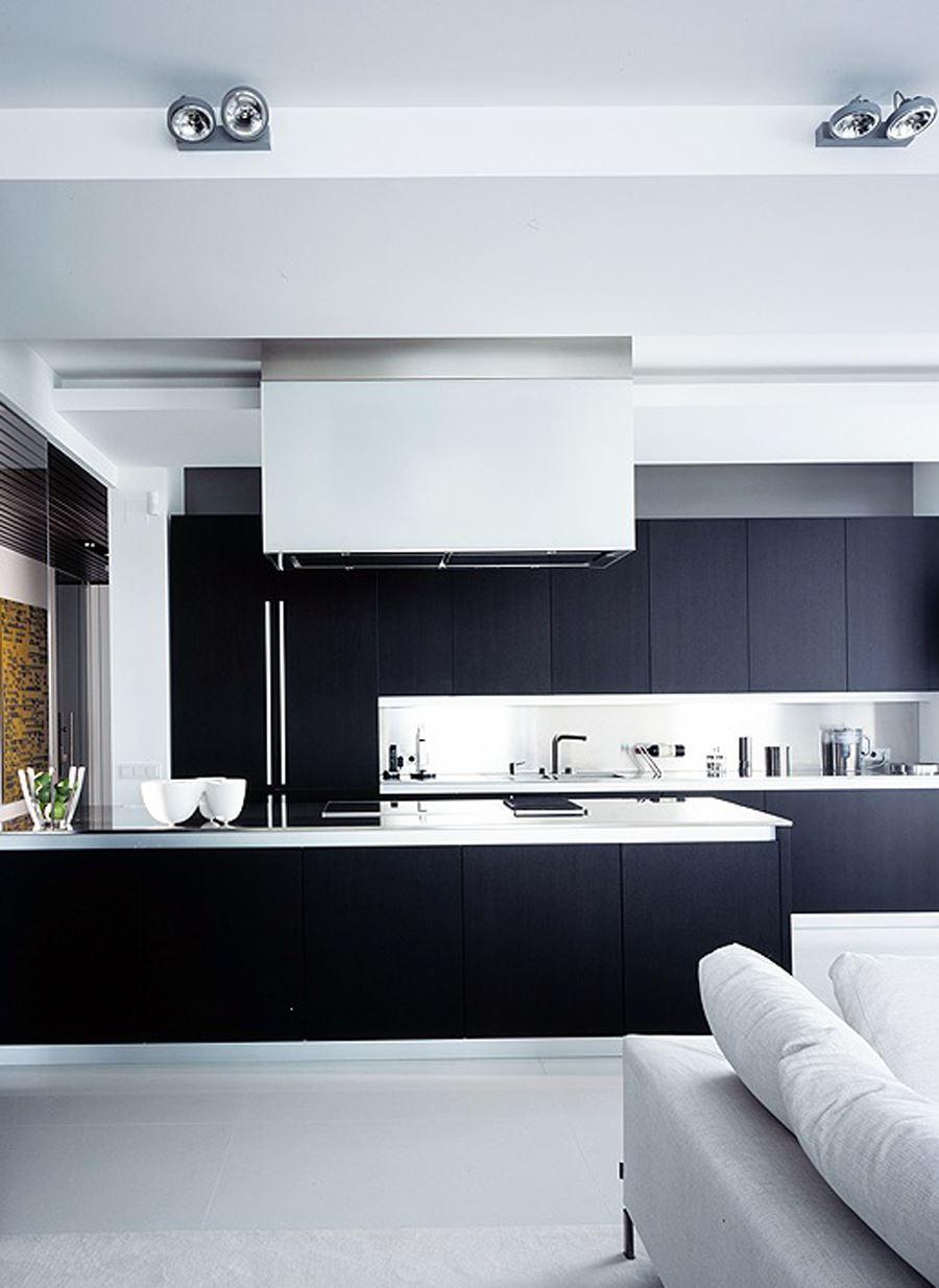 Beyaz Tabanlı Siyah beyaz mutfak
