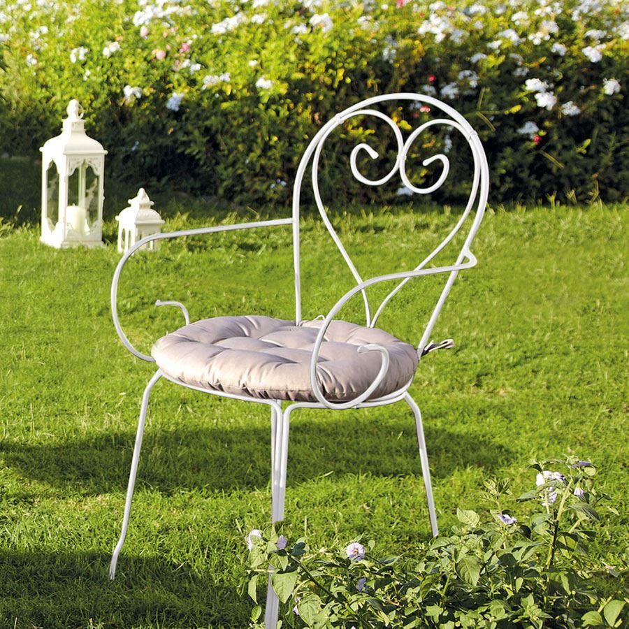 Blooma flores ferforje sandalye beyaz