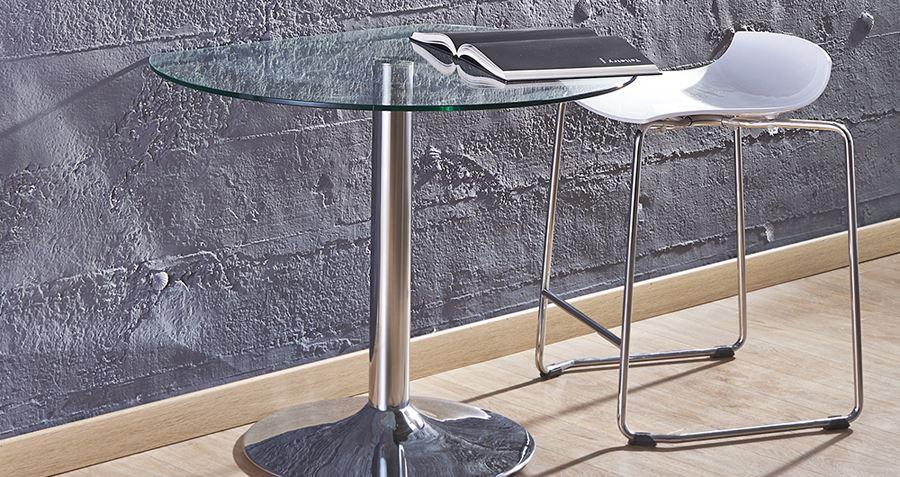Duvara Dayanabilen Yuvarlak Cam Küçük Mutfak Masası