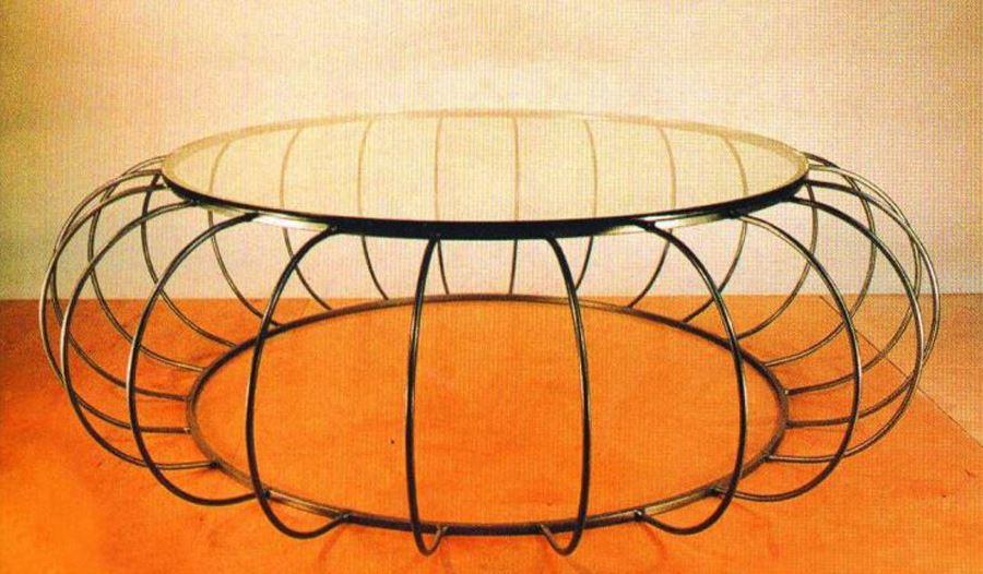 Ferforje oval modern sehpa