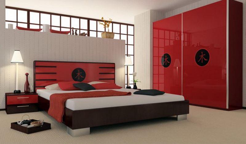Kırmızı yatak odası dekorasyon