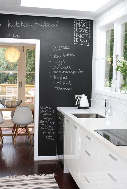 Kara Tahta Duvarlı Siyah beyaz mutfak