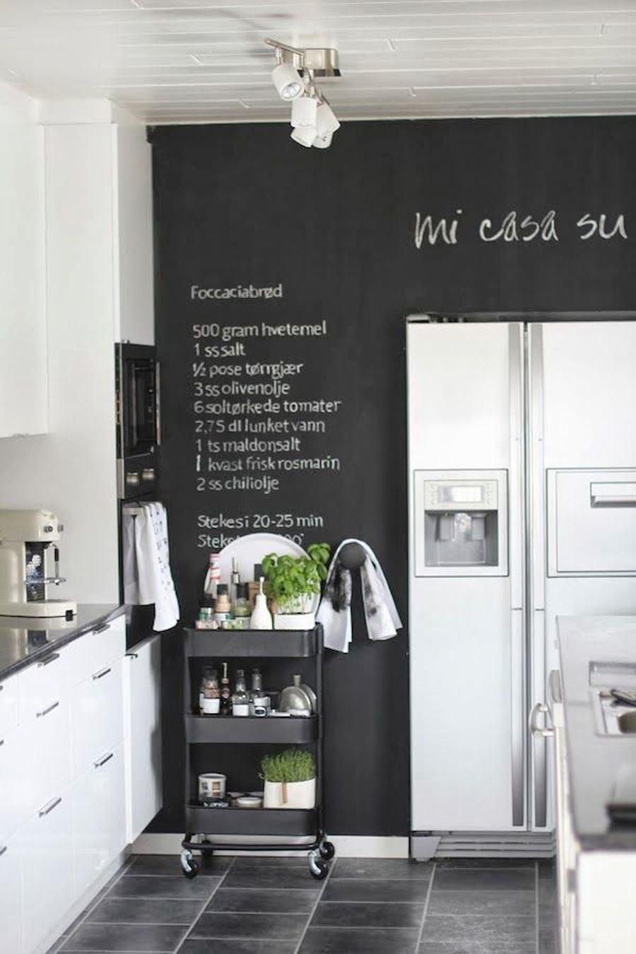 Karalanabilir Siyah Duvar Siyah beyaz mutfak