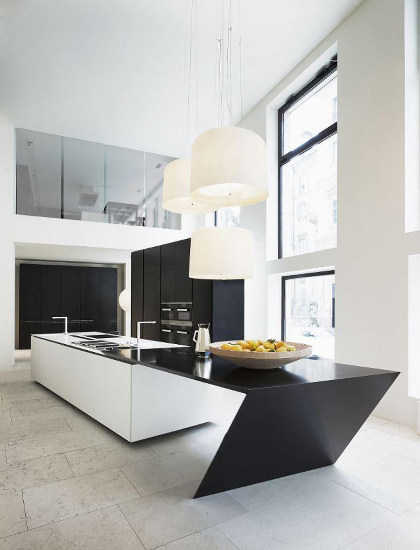 Modern Tezgahlı Siyah beyaz mutfak