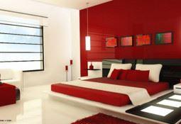 Modern kırmızı beyaz yatak odası dekorasyon