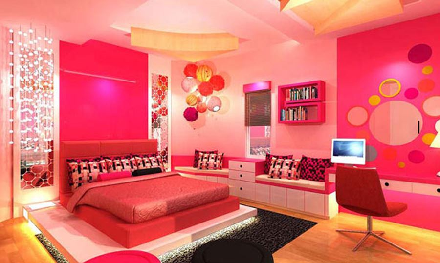 Pink Color Young Girl's Room