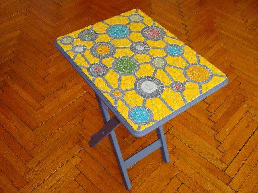Sarı Mozaik Sehpa