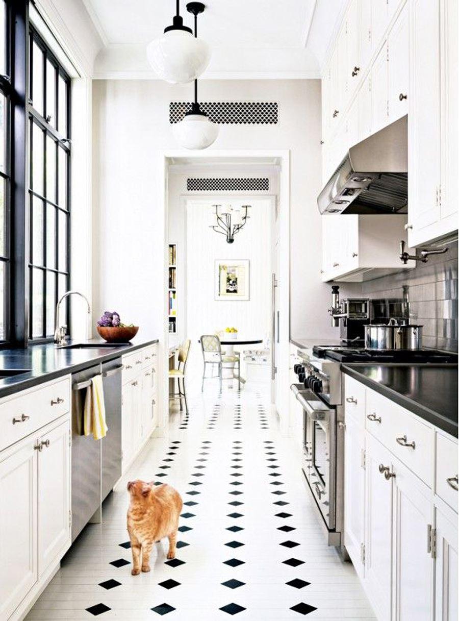 Siyah Beyaz Fayanslı Siyah beyaz mutfak