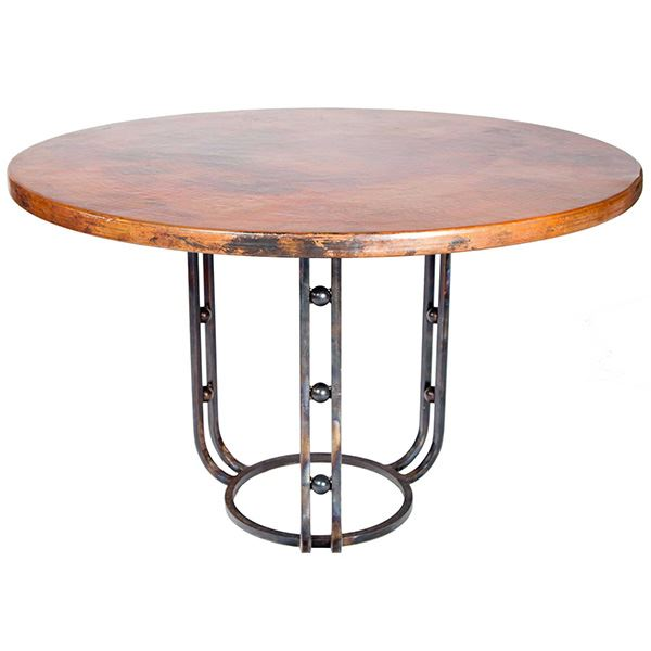 Wrought Iron Table With Three Legs Copper Surface