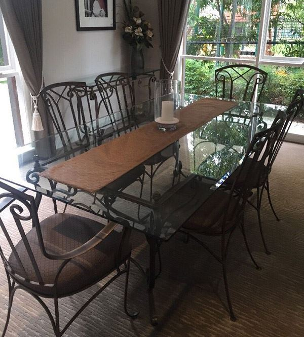 Rectangular Wrought Iron Table for Six People