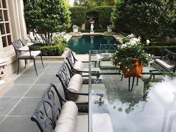 Bahçe için Camlı Uzun Ferforj Masa