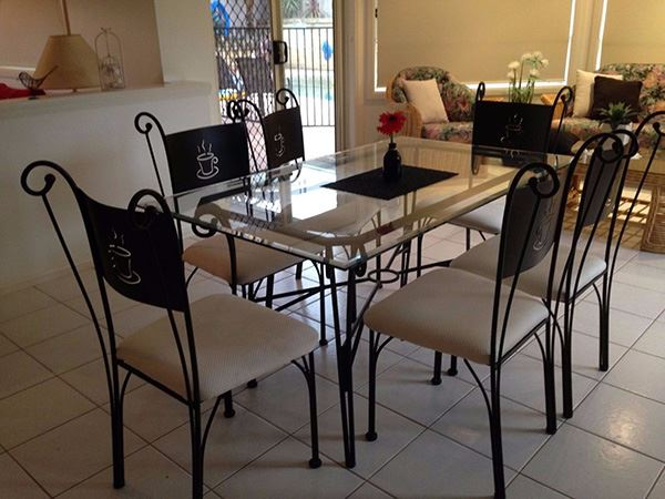 Wrought Iron Dining Table With Rectangular Glass