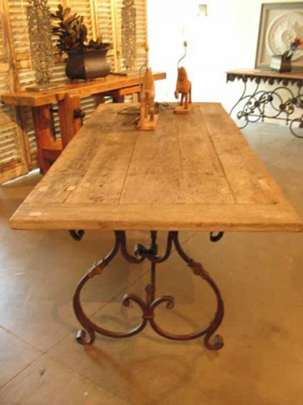 Old Wrought Iron Rectangular Table