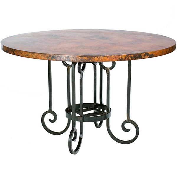 Wrought Iron Table With Copper Surface And Curved Foot