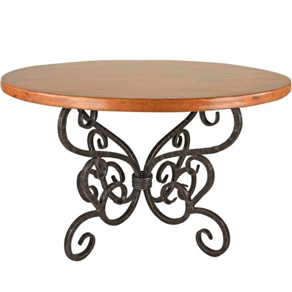 Wrought iron dining table with curved legs