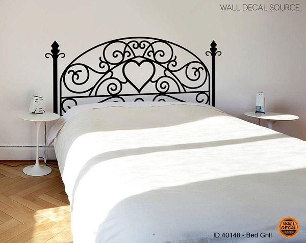 Yatak başlığı duvar kağıdı Kalp desenli ferforje