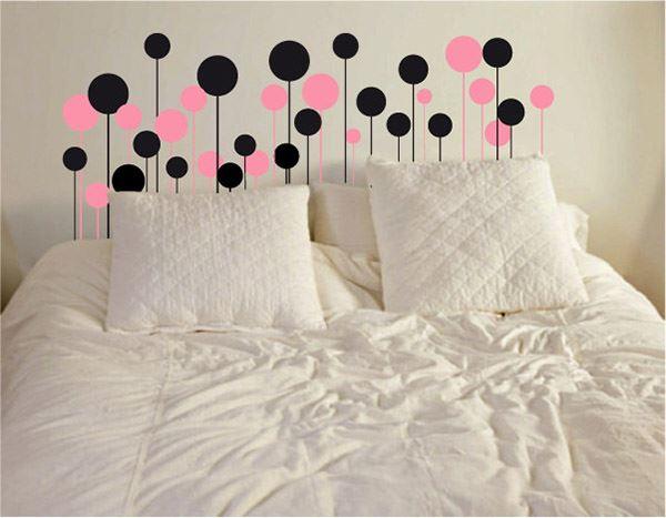 Yatak başlığı duvar kağıdı Pembe siyah toplar