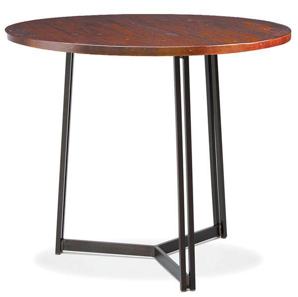 Round Three Legged Wooden Wrought Iron Table