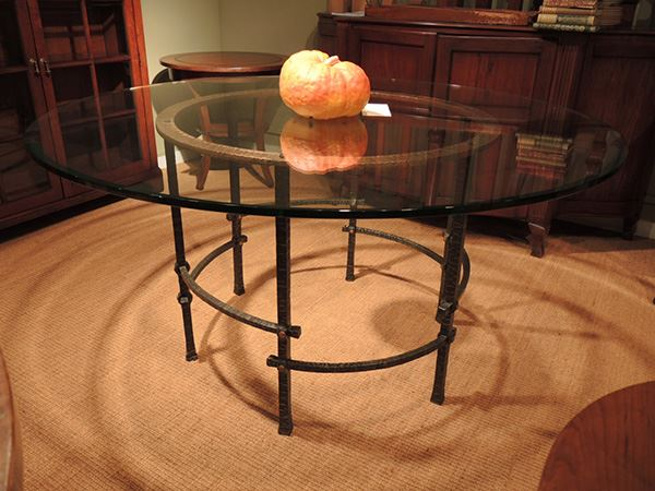 Round Glass Wrought Iron Table