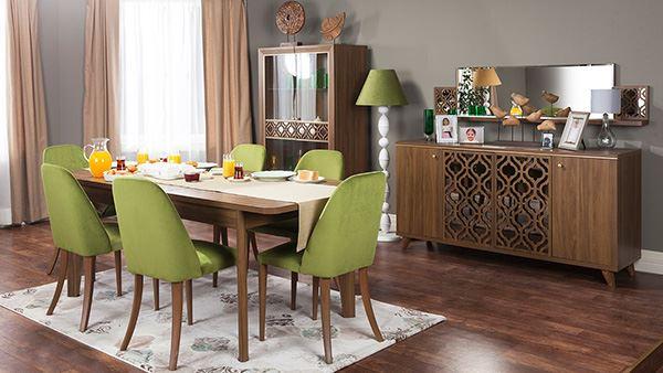 Ahşap ve yeliş yemek odası dekorasyon