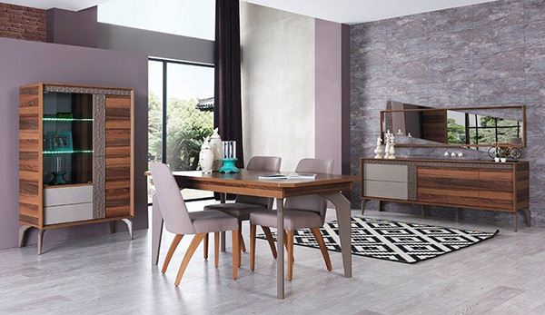Empty wood and pastel colored dining room decoration