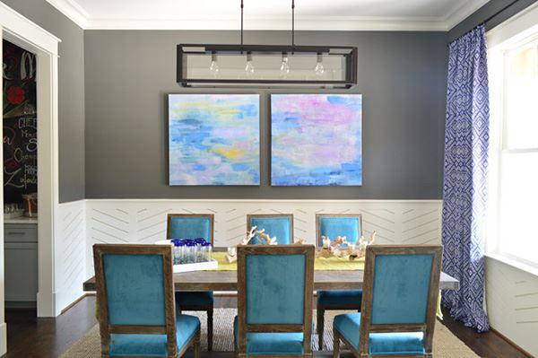 Yemek odası dekorasyonu mavi ağırlıklı