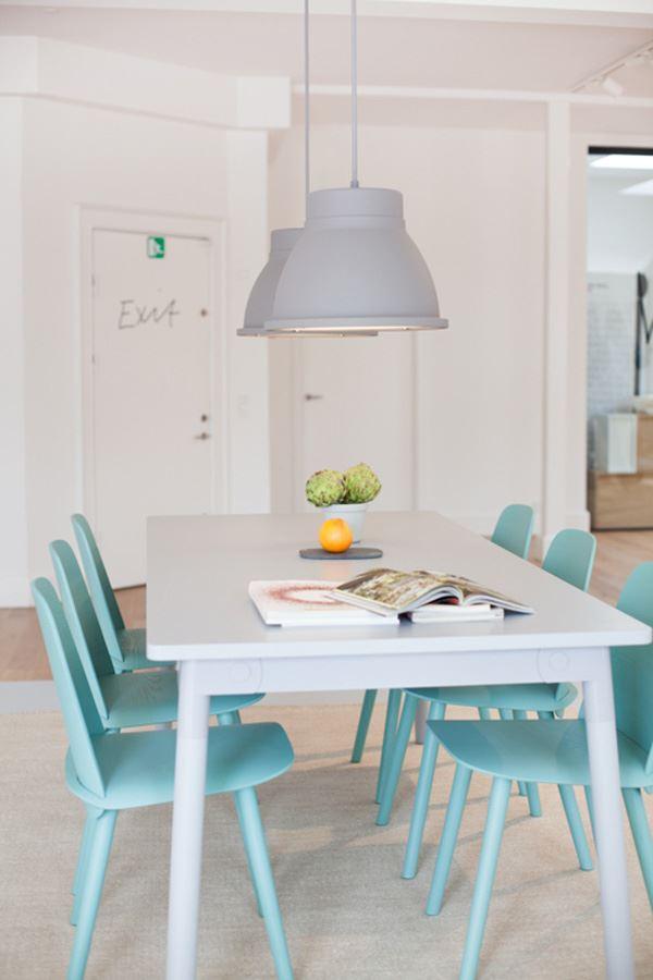 Blue white dining room