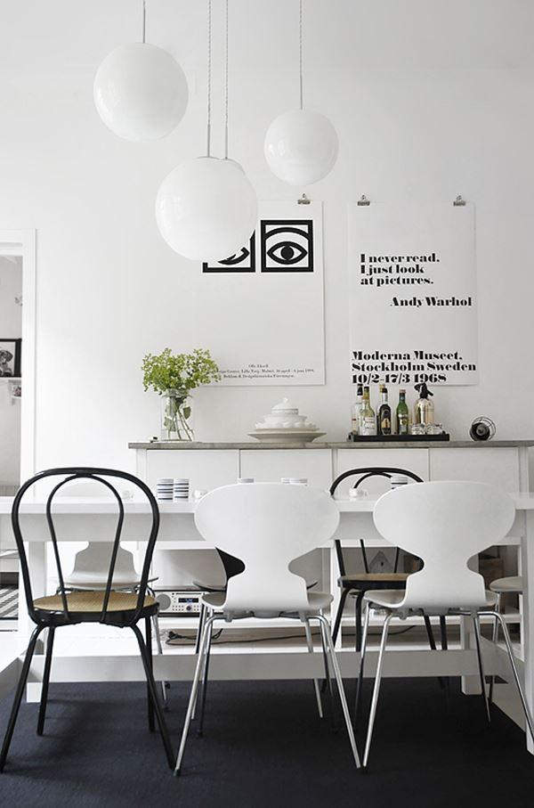 Siyah beyaz yemek odası dekroasyon