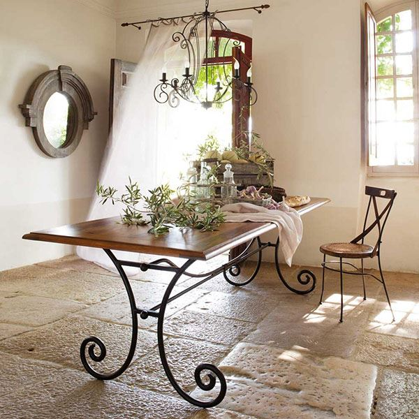 Rectangular Wooden Wrought Iron Table For Dining Room