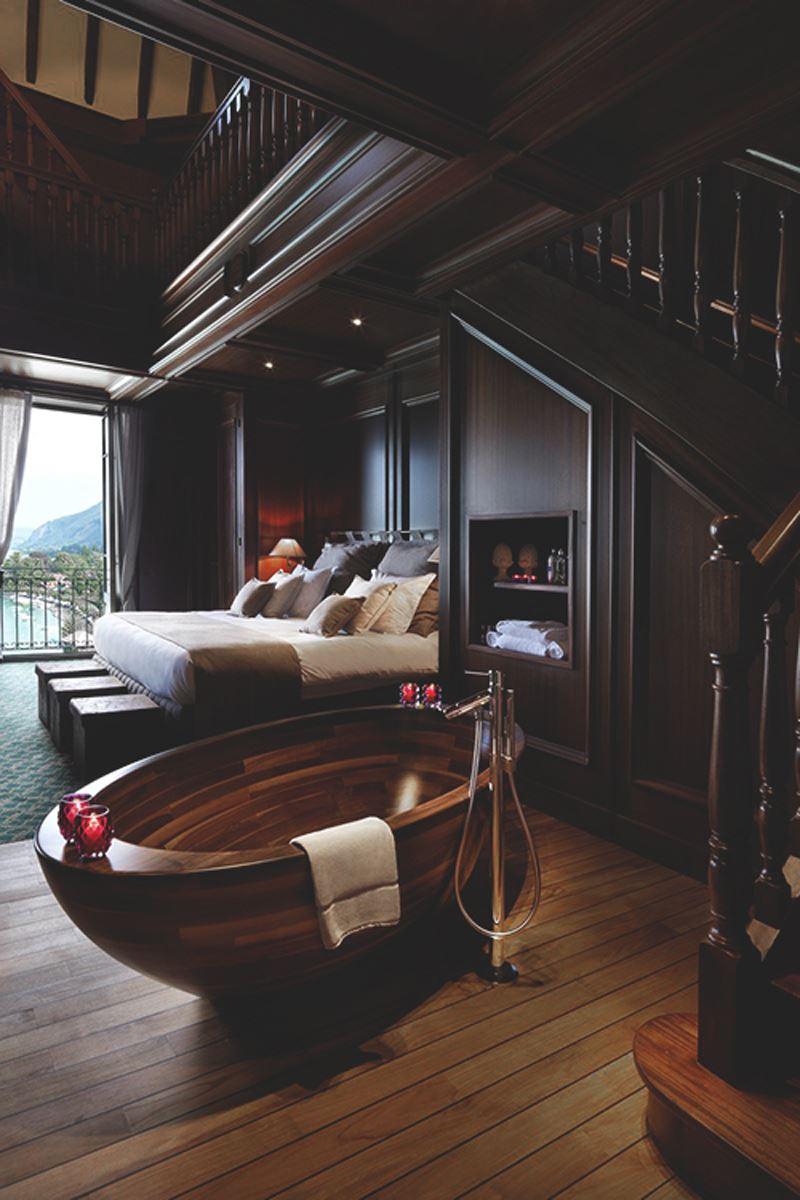 Ahşap Romantik yatak odası dekorasyonu