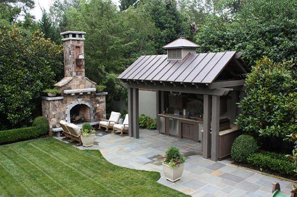 Bahçe için açık hava mutfağı ve ızgara