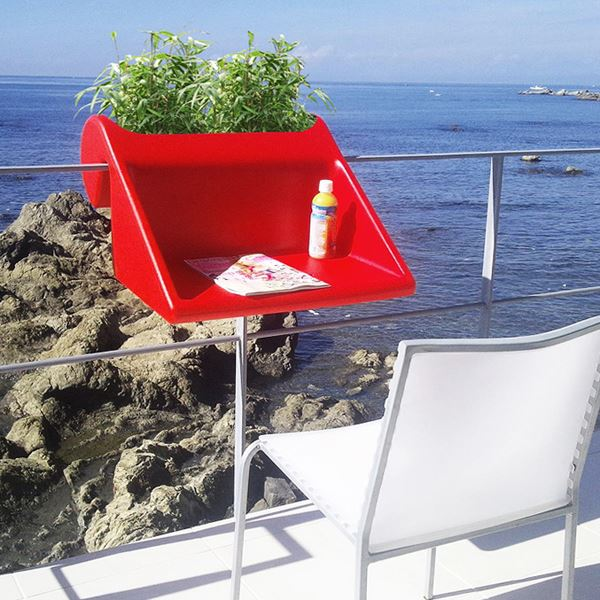 Balcony table with flower pot