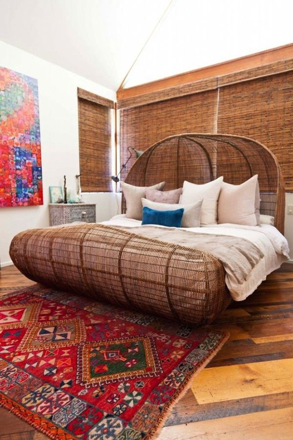 Interesting bedroom with bamboo bed