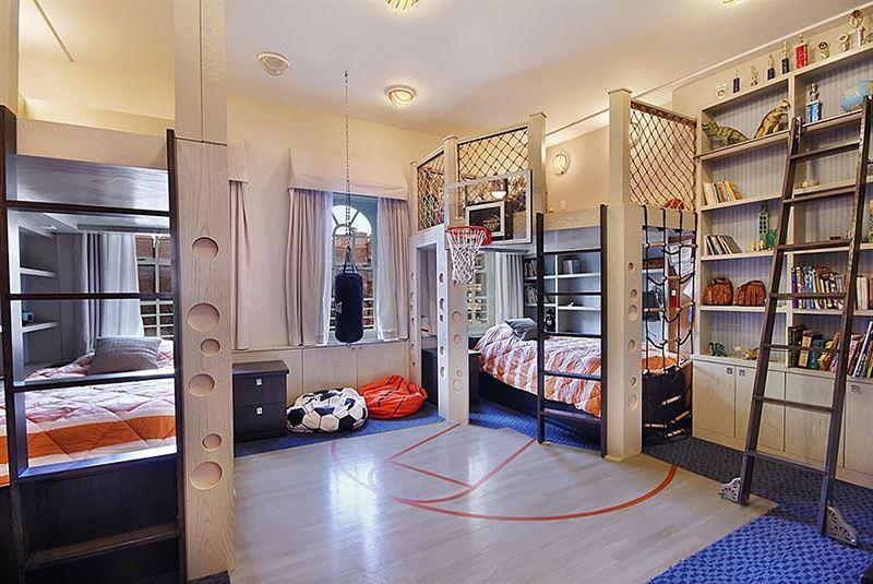 Basketbol sahası çocuk odası dekorasyonu